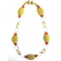 Coral Lemon Jade Crystal Nugget Necklace
