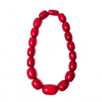 Handcrafted Red Jumbo Round Beaded Statement Necklace