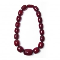 Handcrafted Crimson Red Jumbo Oval Statement Necklace
