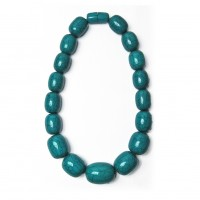 Handcrafted Teal Blue Jumbo Oval Statement Necklace