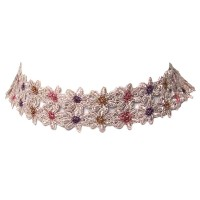 Peach Lacy Floral Choker Necklace