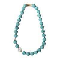 Handcrafted Turquoise Lava Rock Keshi Pearl Necklace
