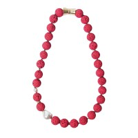 Vibrant Handcrafted Red Lava Rock Keshi Pearl Necklace
