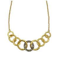 GORGEOUS VINTAGE BRUSHED GOLD RING RHINESTONE CHAIN LINK NECKLACE