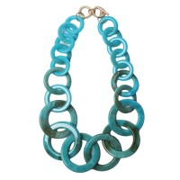 Oversized  Blue Resin- Link Necklace Set