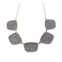 Dazzling Pewter Black Crystal Pendant Link Statement Necklace