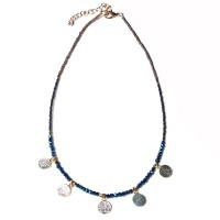 Delicate Metallic Blue Beads Choker Necklace