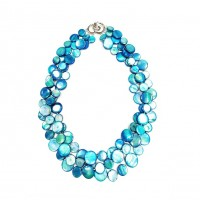 Stunning 3 Strands Blue Mother Of Pearl Coin Disc Necklace