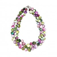 Stunning 3 Strands Purple Green Mother Of Pearl Coin Disc Necklace