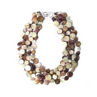 STUNNING 5 STRANDS TAUPE MOTHER OF PEARL COIN DISC NECKLACE