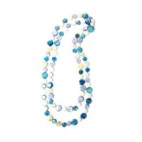 "Turqoise Blue And Pearly White 50"" Mother- Of- Pearl Double Strands Necklaces"