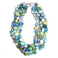 Stunning 5 Strands Multi Blue Mother Of Pearl Coin Disc Necklace