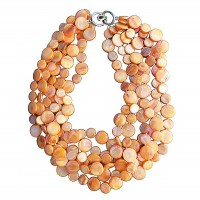 Multi Orange 6 Strands of Mother of Pearl Coin Disc Necklace
