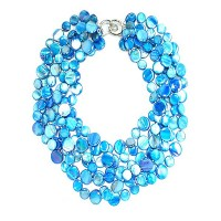 Turquoise Blue 5 Strands of Mother Of Pearl Coin Disc Necklace