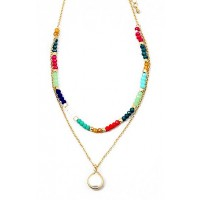 Multi Color Rainbow Beads Pearly Dangle Statement Choker Necklace