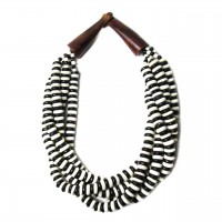 Handcrafted Multi-Strand Black White Genuine Bone Bead Horn Necklace