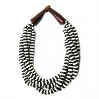 Handcrafted Multi-Strand Black White Genuine Bone Bead Horn Necklace