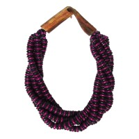 Handcrafted Multi-Strand Purple Black Genuine Bone Bead Horn Necklace