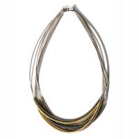 Tigerstars Handcrafted Multi Strand 3 Tone Silver Piano Wire Necklace