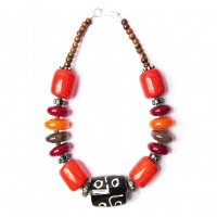 Handcrafted Multi Black Drum Tribal Statement Necklace