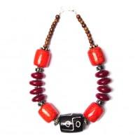 Handcrafted Burgundy Black Drum Tribal Statement Necklace