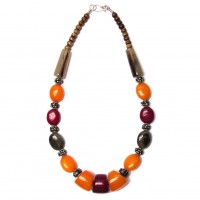 Handcrafted Amber Honey Burgundy Tribal Statement Necklace