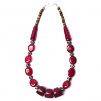Handcrafted Burgundy Tribal Statement Necklace