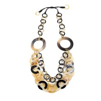 Genuine Natural Horn Tortoise Link Statement Necklace
