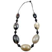 Genuine Jumbo Oval Natural Horn Long Link Statement Necklace