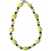 Lime Jade Nuggets With Smoky Topaz Necklace