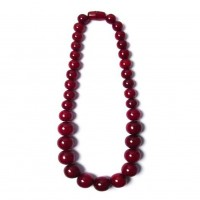 Handcrafted Long Crimson Red Round Statement Necklace