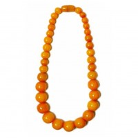 Handcrafted Long Amber Honey Round Statement Necklace