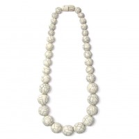 Handcrafted Long Off White Round Statement Necklace