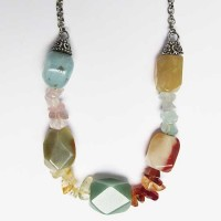 Color Quartz Gem Stones Chips  Silver Chain Necklace