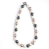 Large Tri-Color Pearly Shell Necklace By Isabel