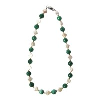 Handcrafted Stunning Geometric Fresh Water Pearl with Emerald Green Necklace