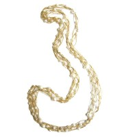 Multi Strand Ivory Fresh Water Pearl Gold Necklace
