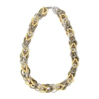 Handcrafted Tri Color Double Ring Piano Wire Chain Necklace