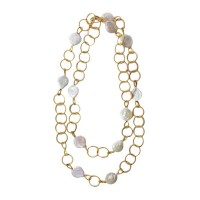Handcrafted Piano Wire Coin Pearl Long Statement Necklace