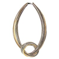 Gorgeous Handcrafted Tri-Color Multi Strand Knot Piano Wire Necklace