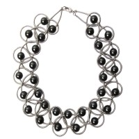 Lustrous Black Mother Of Pearl Silver Piano Wire Necklace