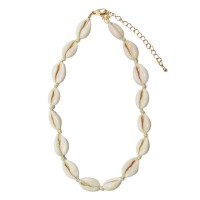 Puka Seashell Gold Choker Statement Necklace
