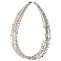 Stunning Handcrafted Multi Strand Silver Piano Wire Silver Gold Beads Necklace
