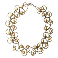 Lustrous Gold Mother Of Pearl Bronze Piano Wire Necklace