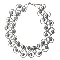 Lustrous Gray Fresh Water Pearl Silver Piano Wire Necklace