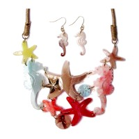 MULTI PINK SEAHORSE STARFISH STATEMENT COLLAR NECKLACE EARRING SET