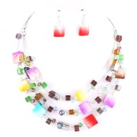 COLORFUL MULTI STRAND COLLAR STATEMENT NECKLACE EARRING SET