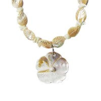 Rosy Mother Of Pearl Shell Floral Leaf Necklace Set