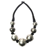 Handcrafted Jumbo Metallic Silver Tone Ball Necklace