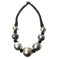 Handcrafted Jumbo Metallic Silver Tone Ball Necklace